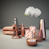 Copper Bathroom Decor Set