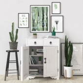 Green and white set with plants