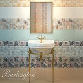 Sink with podstolya Burlington Edwardian B6, A11GOL mirror, faucet Birkenhead, tiles Saloni Calypso