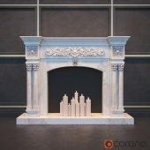 white marble fireplace mantel four columns
