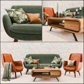 Mid Century Sofa and Chair set