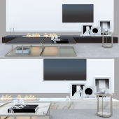 Electric Fireplace wall with TV and decoration, and Minotti Huber
