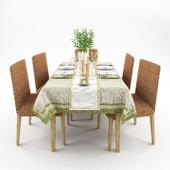 Сервировка стола с посудой Vietri и стульями Cosmorelax