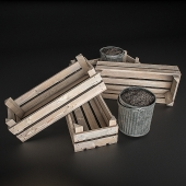 Wooden crates and pots