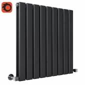 Milano Alpha - Black Horizontal Double Slim Panel Designer Radiator