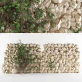 Sandstone rustic wall with ivy