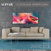 ALIVAR SET Cloud sofa, Harpa tabele, CHANDRA carpet