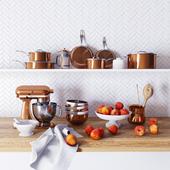 Crate&Barrel copper kitchen decor set