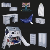 """A collection of children's furniture, """"White Whale"""" from CLEVEROOM"""