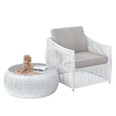Стол и кресло из ротанга