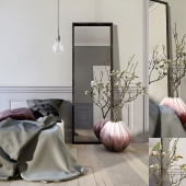 Bedroom decor set with flowers