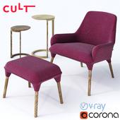 CULT - Plum Armchair and Cult - Nest Tables