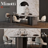 "MINOTTI Chair ""Fil Noir dinning"" + Table ""Luo dinning"""