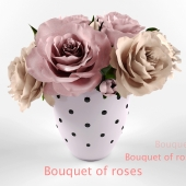 The bouquet of roses in a polka dot ceramic vase