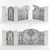 Ворота кованые с калиткой и столбы