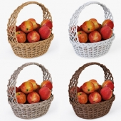 Wicker basket with apples 04