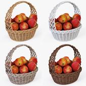 Корзина плетеная 04 с яблоками