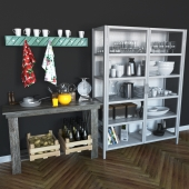 Kitchen Cabinet with Decorations
