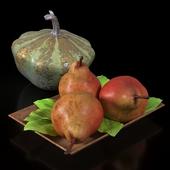 Decorative pumpkin and pears