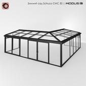 Зимний сад (№ 5) CMC 50 MODUS. Двускатный, к внешнему углу здания