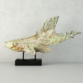 Hand Carved Driftwood Fish On Stand