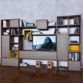 Storage system with books tv vase 4
