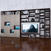 Storage system with books tv vase 5