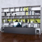 Storage system with books tv vase 6