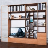 Storage system with books tv vase 8