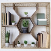 Honeycomb Wall Shelf with Mesh Brass Frame