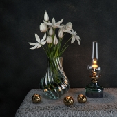 Antiquated Decorative Set with Tulips flower