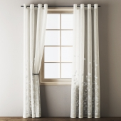 Floral Embroidered Linen Eyelet Curtains