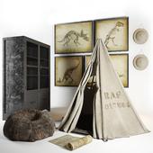 Restoration hardware Wigwam, cupboard, hat, ottoman, paintings