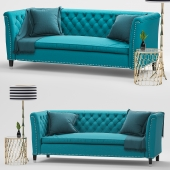 Nightingale Teal Blue Velvet Sofa