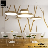 Set B.Lux CASTELC, Vitra Eames Plastic Side Chair