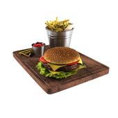 Гамбургер и картошка фри в ведерке