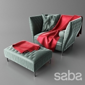 Armchair quilted (Chair) Saba Poltrona with pouf
