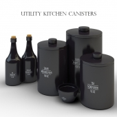 Utility Kitchen Canisters Black