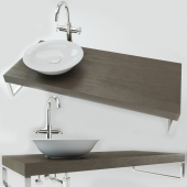 Washbasin on the wooden plate