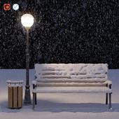 Заснеженная скамейка