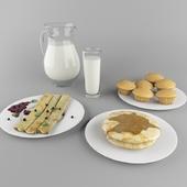 Pancakes, cakes and milk