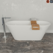 Каменная ванна BALTECO Fiore и смеситель Grohe Eurocube Joy