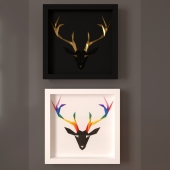 Paperpan  » Rainbow Deer Artwork and Golden Antlers Artwork