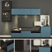 Шкаф для ТВ Ikea Бесто/Besta Халлставик(тёмно-синий).