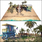 Ocean beach set and Miami Lifeguard Hut