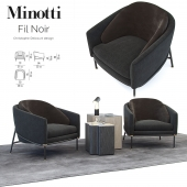 Armchair Phil Noir / Minotti Fil Noir