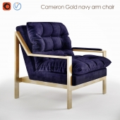 Cameron Gold navy armchair