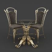 Table and chair forged