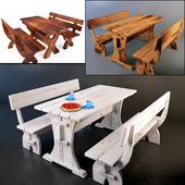 Деревянная скамейка и стол. 3 штуки.
