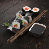 Rolls with salmon and cucumber